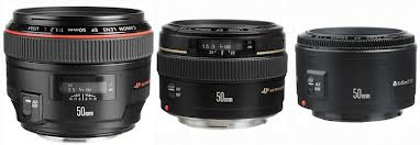 Canon 50mm lenses | Bigger lens (on left) equals bigger aperture (and bigger budget)