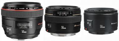 Canon 50mm lenses   Bigger lens (on left) equals bigger aperture (and bigger budget)