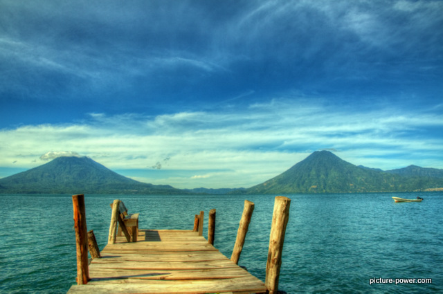 Lake Atitlan Photos   A Dock and Two Volcanoes